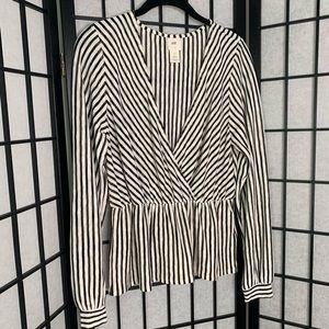 H&M Black/White Stripe V-Neck Blouse